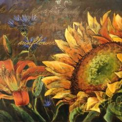 """As the Sunflower Turns - 24"""" x 36"""" acrylic & metal reactive paint on panel - FOR SALE"""