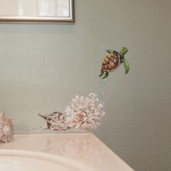 A Tiny Turtle friend - A small turtle ('Shelby') was all this client wanted added to her sea themed bathroom. …….Now she'll have someone to sing to while she's in the shower! -