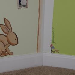 Woodland Wonderland - I think the bunny just spied Norman hiding behind the tree! -