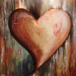 Heart of Many Layers - Multi-layered painting: metallic & metal reactive paints, plaster, etc. -
