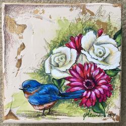 "Bloomin' Blue Bird - 5.5"" x 5.5"" acrylic & plaster on canvas - SOLD"