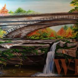 4 of 4 paintings - Colorful Autumn Bridge