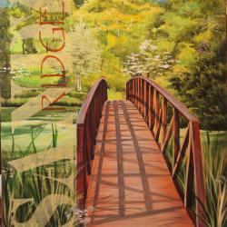 2 of 4 paintings - A Peaceful  Springtime Bridge -  done for a county office