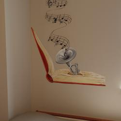 """""""The Library"""" Pediatric Exam Room- Details (The music of """"Bare Necessities"""""""