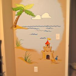 """Tropical Getaway"" nursery - sand castles by the door"