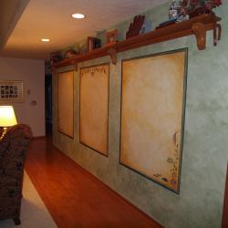 Familyroom with Flair - Hand painted faux panels and glazed walls