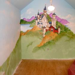 A Storybook Playhouse - Cinderella's castle on one wall…..
