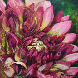 "12""x12"" Dahlia in acrylics and metal reactive paints"